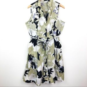 Floral Sleeveless Shirt Dress Button Down Sz 1X